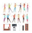 Karaoke Party Elements Set vector image vector image