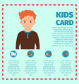 kids card infographic template with boy vector image