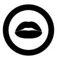 lipstick or lips icon black color in circle vector image