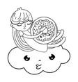 little girl with sweet donut kawaii character vector image
