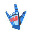 mechanical palm showing rock gesture robotic hand vector image vector image