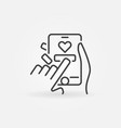 mobile phone in hands concept icon in thin vector image
