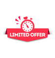 modern red limited offer banner tag with watch vector image vector image
