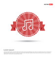 music symbol icon - red ribbon banner vector image
