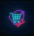 neon supermarket sale sign with shopping cart in vector image vector image