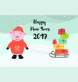 pig carries gifts on a sled happy new year vector image vector image