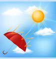 red umbrella and hot sun vector image
