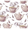 Seamless background with cups and pots vector image vector image