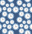 Seamless pattern Cogwheels and clocks over blue vector image