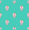 seamless texture of cupcakes with cherry vector image