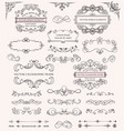 set different calligraphic frames and patterns vector image
