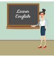 teacher in front of blackboard teaching student in vector image vector image
