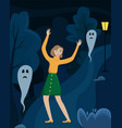 the frightened girl raised her hands in a dark vector image vector image