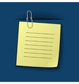 the note clipped to the blue drapery vector image vector image