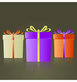 three colorful gifts with ribbons reflection eps10 vector image vector image