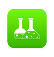 transparent flasks icon digital green vector image vector image