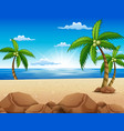 view of beautiful sunrise in the beach vector image