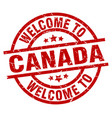 welcome to canada red stamp vector image vector image