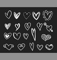 white doodle hearts set vector image