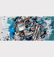 winter hand drawn doodle banner cartoon detailed vector image vector image