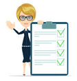 woman checking on checklist box vector image