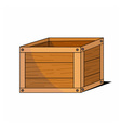 wooden cartoon box icon vector image