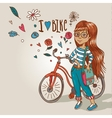 Young girl with a bicycle vector image vector image