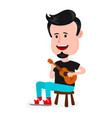 young happy smiling man hipster singing vector image vector image
