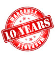 10 years warranty stamp vector image