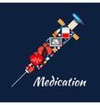 Syringe symbol of medical tools medications items vector image