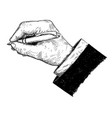 artistic or drawing of businessman hand in suit vector image vector image