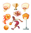 basketball set - sportsman with ball vector image vector image