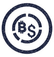 bitcoin financial diagram rounded grainy icon vector image vector image