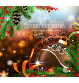 Brown Christmas ball with sparkles and fir vector image vector image