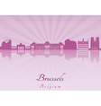 Brussels skyline in purple radiant orchid vector image vector image