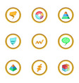 business diagram icons set cartoon style vector image