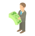 Businessman counting pack of dollars icon vector image