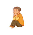 cartoon boy sitting listening attentively vector image vector image