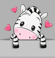 cartoon zebra with hearts on a gray background vector image