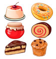 cheesecake jam cupcake donut swiss roll vector image vector image