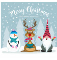 christmas card with cute gnome reindeer and vector image vector image