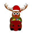 christmas reindeer holding a present bag vector image vector image
