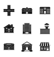 City buildings icons set simple style vector image