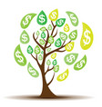 colored money tree dependence financial growth vector image vector image