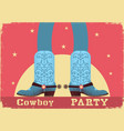 cowboy party card background with cowboy legs in vector image vector image