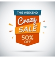 Crasy sale This weekend 50 percent off vector image vector image