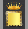 crown and retro banner with empty space frame vector image vector image