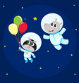 cute animal astronaut spaceman characters hippo vector image vector image