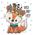 cute cartoon tribal fox with feathers vector image vector image