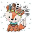 cute cartoon tribal fox with feathers